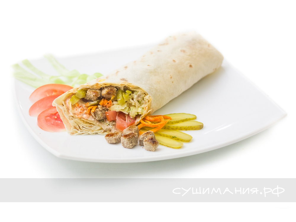Шаурма со свининой и морковкой по-корейски